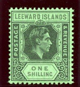 Leeward Islands 1942 KGVI 1s black & grey/emerald (O) superb MNH. SG 110bb.
