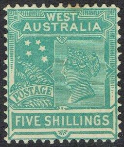 WESTERN AUSTRALIA 1902 QV 5/- WMK V/CROWN PERF 12.5