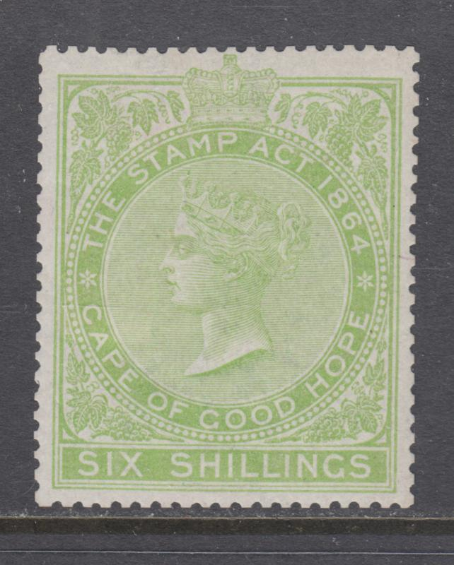 Cape of Good Hope Bft 96 MLH. 1876 6sh yellow green Stamp Duty fiscal, fresh