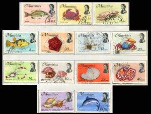 Mauritius 1969  #339-356 Used Fish Topical Marine Life