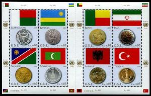 HERRICKSTAMP UNITED NATIONS GENEVA Sc.# 484 Flags & Coins