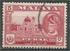 PERAK, 1957, used 5c, Yussuf Izuddin. Scott 130