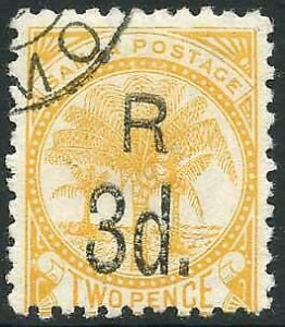 Samoa SG76a 3d on 2d yellow Fine used Cat 16 pounds