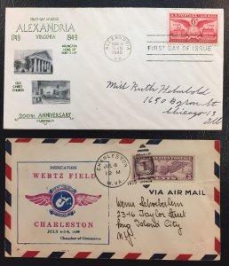 US #C11,C12,C23,C40,C76,E15,UC17,724,985,986 Misc Airmail FF/FDC Covers LOT