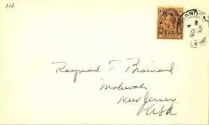 Turks & Caicos Is. 3d KGV Overprinted War Tax 1932 Turks Islands to Mahwah, N...