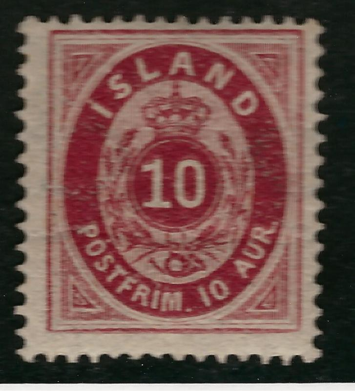 Iceland Rare 1876 SC #11 Mint OG Fine with crease Cat $270