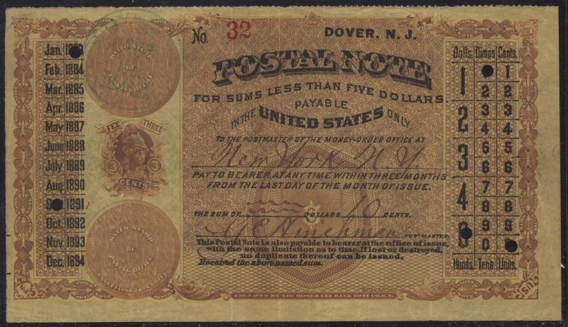 US POSTAL NOTE DOVER, NJ XF+ FIRST USAGE SEPT 1883 WL6955