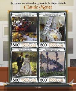 TOGO - 2021 - Claude Monet - Perf 4v Sheet - Mint Never Hinged