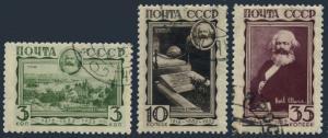 Russia 480-482,CTO.Michel 424-426. Karl Marx,1933.Trier,birthplace,Grave,London.