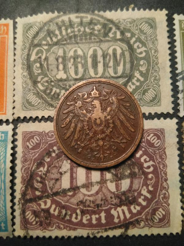 2 pfennig and stamp 2 Set of Germany  coin