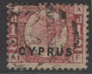CYPRUS SG1 pl.19 1880 ½d ROSE USED