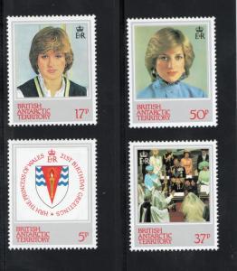 BRITISH ANTARCTIC TERRITORY Sc# 92 - 95 MNH FVF Set-4 Princess Diana