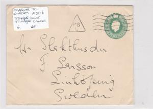england-sweden 1930's stamps cover triangle cancel ref 8624