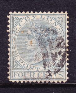 CEYLON 1872-80  4c  GREY QV   FU P14x12 1/2  SG 134