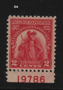 1929 Sullivan Sc 657 MNH plate number single  Hebert CV $13