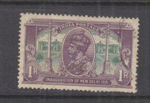 INDIA, 1931 New Delhi 1r. Violet & Green, used.
