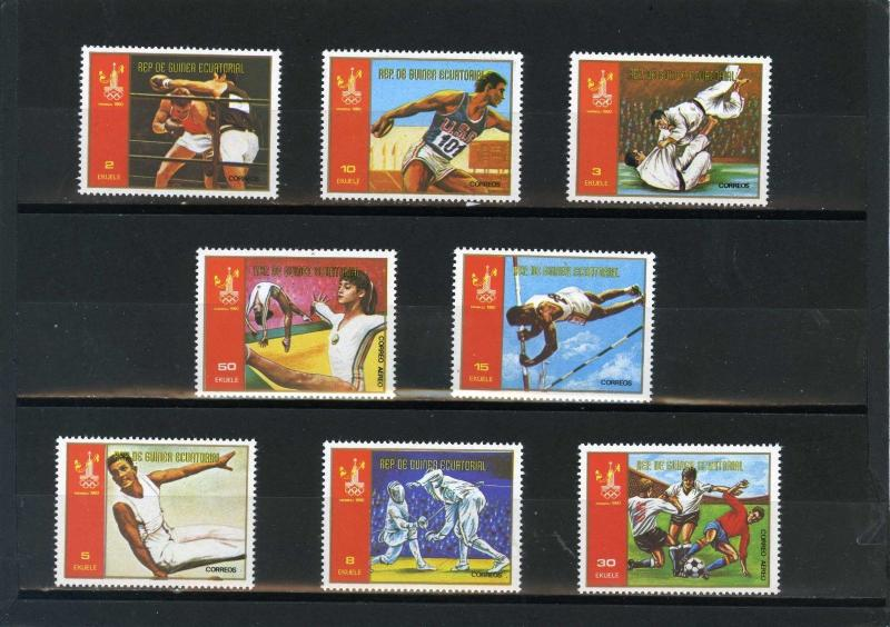 EQUATORIAL GUINEA 1980 SPORTS/SUMMER OLYMPIC GAMES MOSCOW SET OF 8 STAMPS MNH