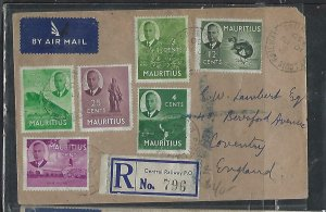 MAURITIUS COVER (P1311B) 1950  KGVI 11 DIFF VALUES REG CENTRAL RWY PO TO ENGLAND