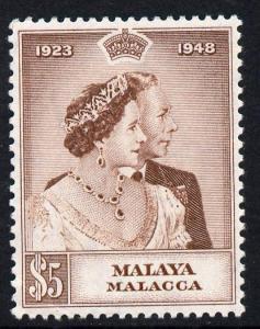 Malaya - Malacca 1948 KG6 Royal Silver Wedding $5 mounted...