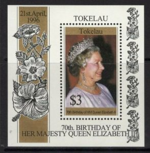 TOKELAU ISLANDS SG#244 70th BIRTHDAY OF QUEEN ELIZABETH II S/S (1996) MNH