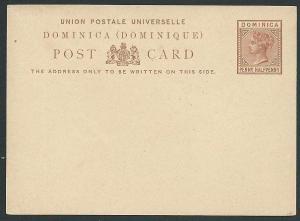 DOMINICA QV 1½d postcard fine unused.......................................46165