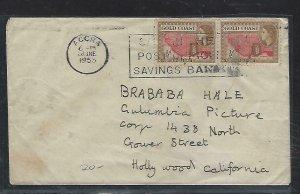 GOLD COAST (P2708B)  1953   QEII  1/2DX2 POSB SLOGAN CANCEL ACCRA TO USA
