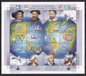 Palau-Scott#302-unused NH sheet-Age of Discovery-Maps-Ships-1992-