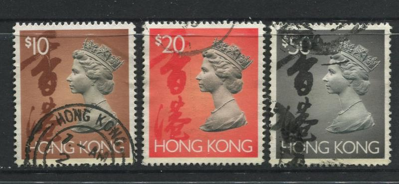 Hong Kong - Scott 651c,d,e - Definitive Issue- 1992 - Used- 3 Top Values in Set