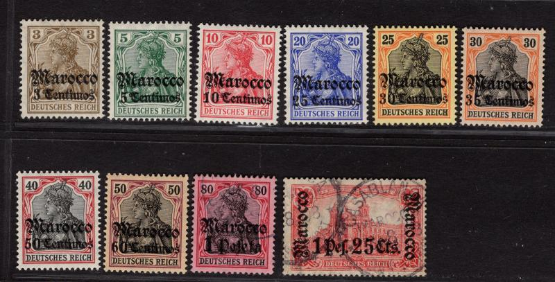 $Germ. Off. Morocco Sc#33-42 2used-M/LH/VF partial set high values expert signed