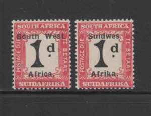 SOUTH WEST AFRICA #J27a-b  1924  1p  POSTAGE DUE    MINT VF LH O.G