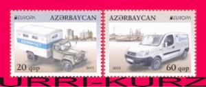 AZERBAIJAN 2013 Europa CEPT Mail Postman Vans Cars Autos 2v Mi 973A-974A MNH