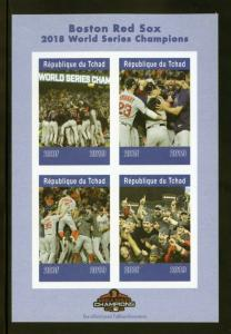 CHAD 2019 BOSTON RED SOX  BASEBALL  SHEET IMPERFORATE   MINT NEVER HINGED