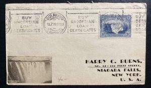 1934 Bulawayo Southern Rhodesia Cover To Niagara Falls NY USA