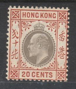 HONG KONG 1904 KEVII 20C WMK MULTI CROWN CA