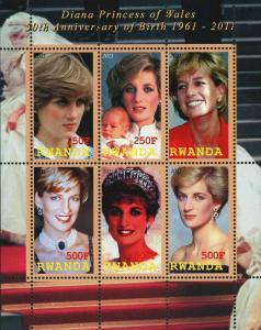 Rwanda Diana Princess of Wales Historical Figure Souvenir Sheet of 6 Stamps Mint