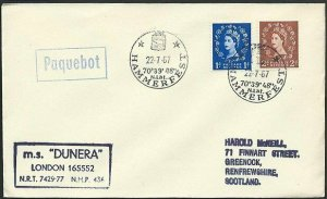 GB NORWAY 1967 MS Dunera ship cover, HAMMERFEST boxed PAQUEBOT......... ...47936