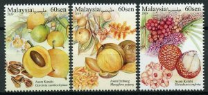 Malaysia 2019 MNH Sour Fruits 3v Set Flora Flowers Plants Nature Stamps