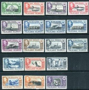 FALKLAND ISLANDS-1938-50  A mounted mint set to £1 Sg 146-163