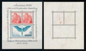 [97909] Switzerland 1938 Aarau Stamp Expo Little Abklatsh Souvenir Sheet MNH