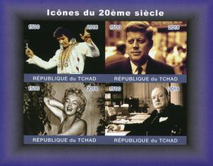 Chad 2018 MNH Elvis Presley JFK Churchill Marilyn Monroe 4v IMPF M/S Stamps