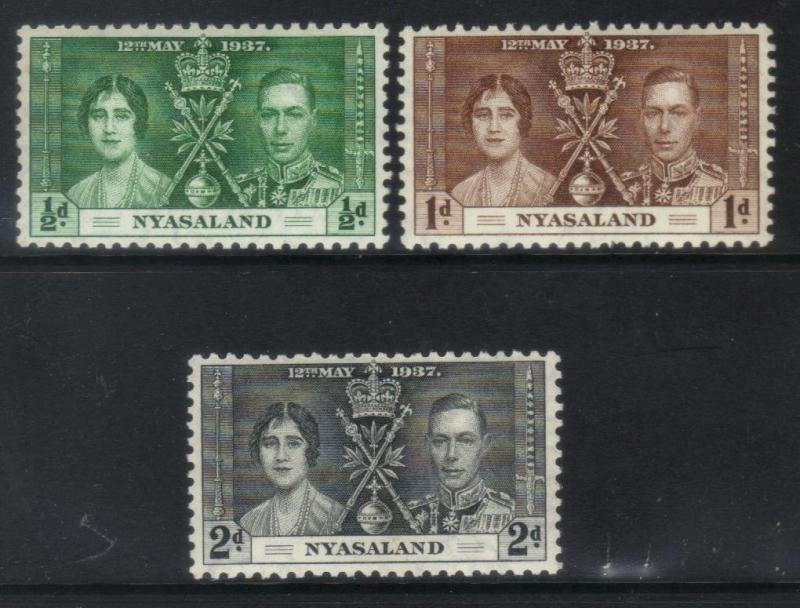 NYASALAND 1937 CORONATION MH SET OF 3