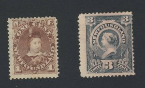 2x Newfoundland Mint Stamps; #41-1c MH Fine & #60a MNG Fine Guide Value= $45.00