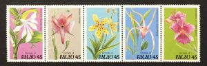 Palau 1990 #241a Strip of 5, Orchids, MNH.