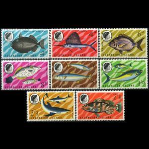 ASCENSION 1968 - Scott# 118-25 Fish Set of 8 LH