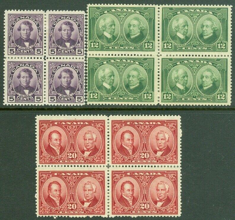 EDW1949SELL : CANADA 1927 Scott #146-48 Block of 4. Mint OG HR. Catalog $166.00.