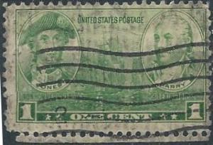 US 790 (used, cruddy filler) 1¢ John Paul Jones and John Barry (1936)