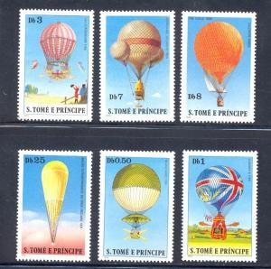 St. Thomas & Prince MNH 555-60 Hot Air Balloons SCV 9,25