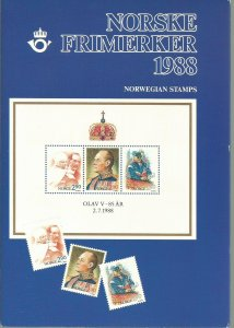 1988 Norway 16 Unused Never Hinged Stamps and 2 Souvenir Sheets