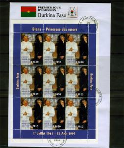 Burkina Faso 1998 Pope John Paul II-Princess Diana Sheet perforated in FDC