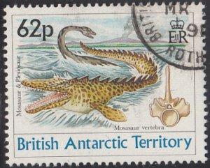 British Antarctic Territory 1991 used Sc #175 62p Mosasaur, plesiosaur
